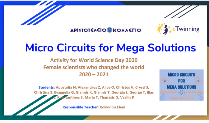 "eTwinning πρόγραμμα «Micro Circuits for Mega solutions"" Δραστηριότητες Νοεμβρίου 2020"